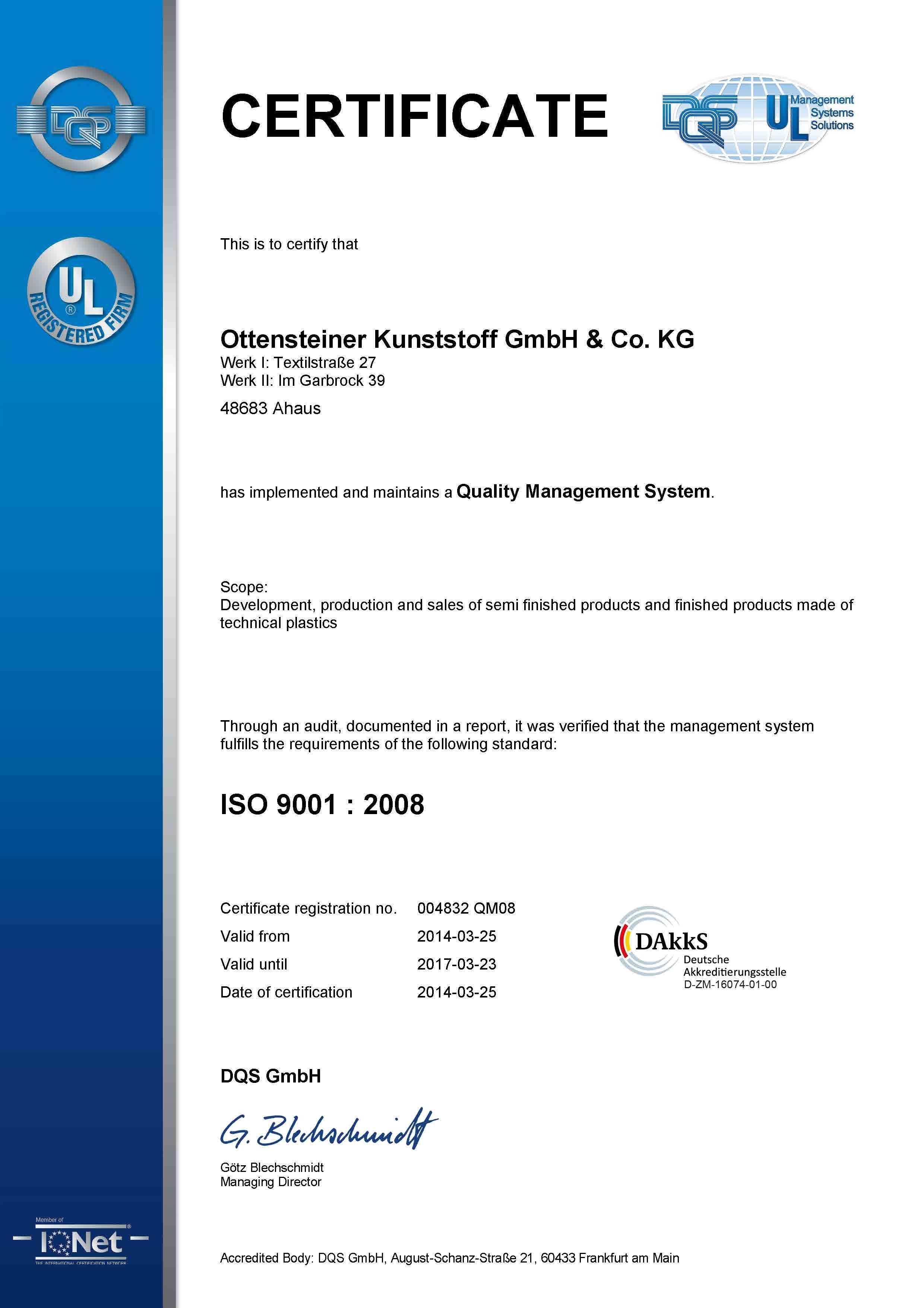 004832 - Ottensteiner Kunststoff GmbH & Co. KG - certificate - Englisch - 2014-03-25 - QM08