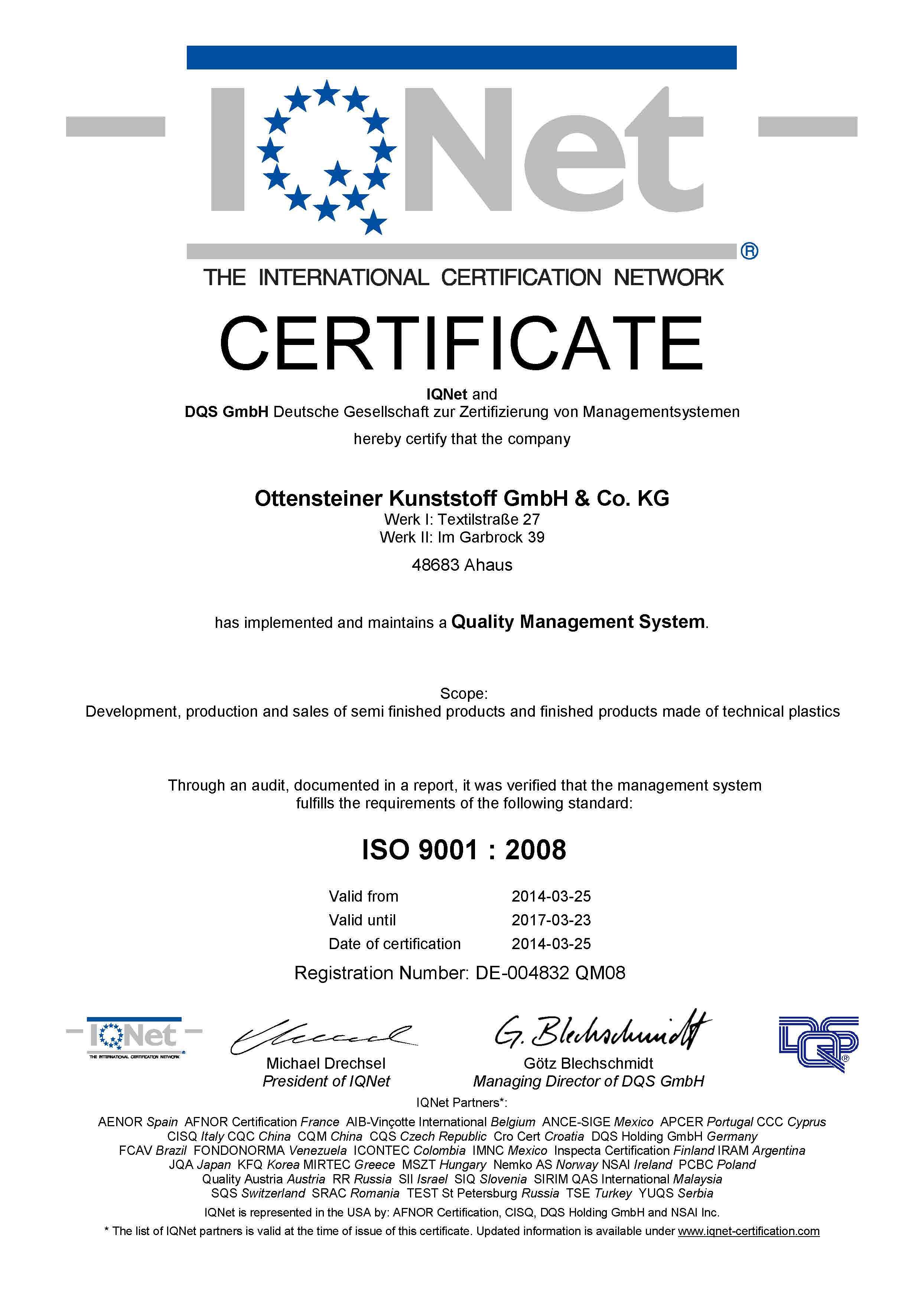 004832 - Ottensteiner Kunststoff GmbH & Co. KG - certificate - Englisch IQNet - 2014-03-25 - QM08